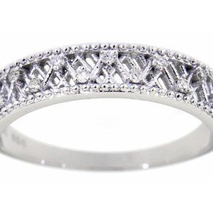 Solid UniqueFlower Diamond Wedding Band White Gold